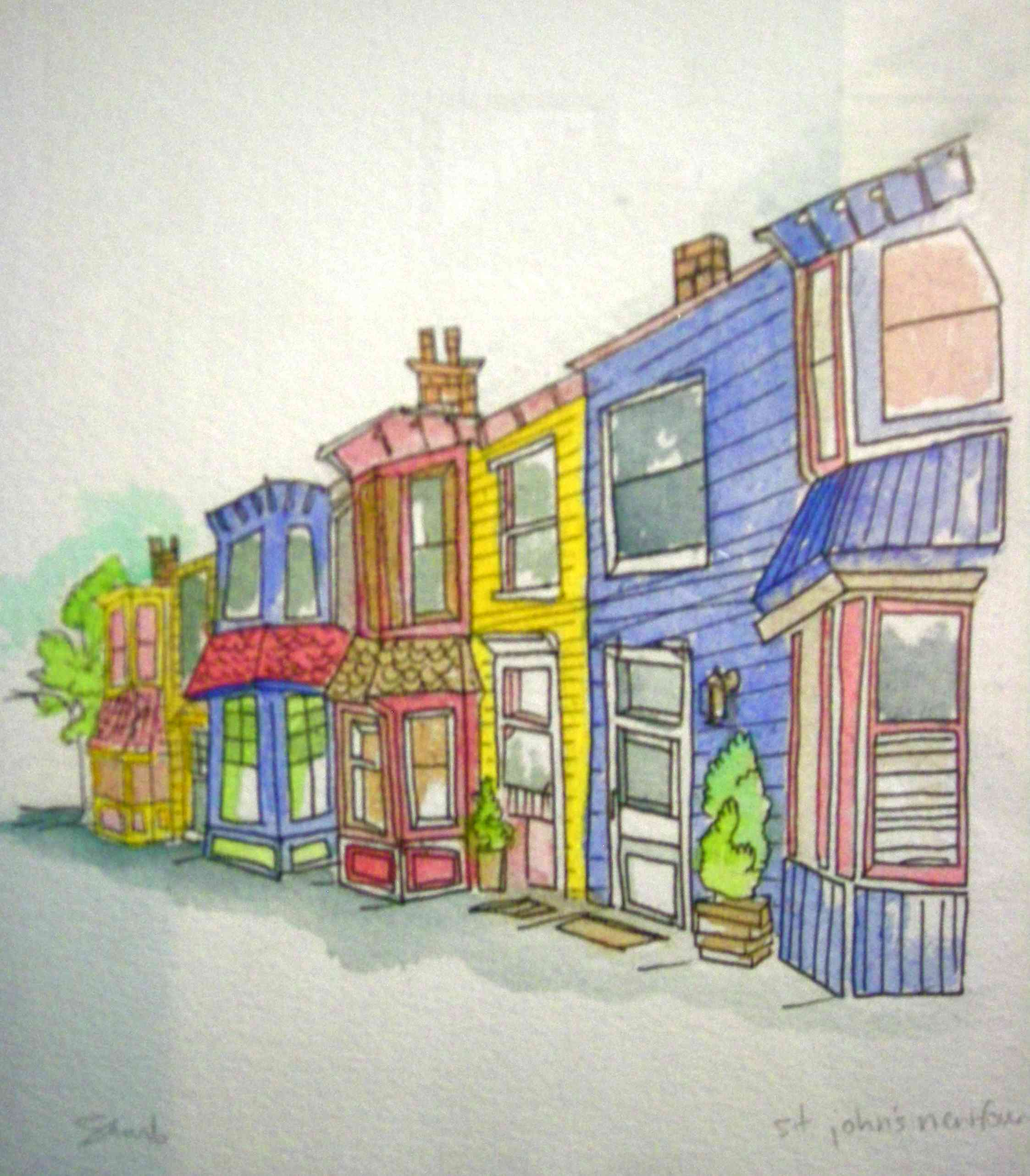 newfoundland buildings- sketch watercolour