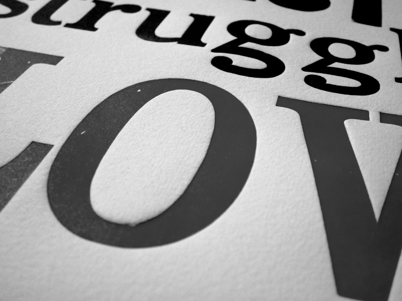 letterpress image in black and white wood type closeup