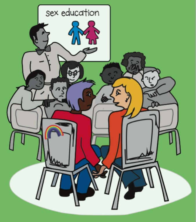 Dominion magazine cover issue 79- two queer students in a classroom looking at each other puzzled, wondering if sex ed includes them