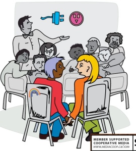 queer positive sex ed image the dominion magazine. using a metaphor of a light socket and plug, the teacher is highlighting sex education on the blackboard. a queer couple is holding hands at the back of the class, feeling left out