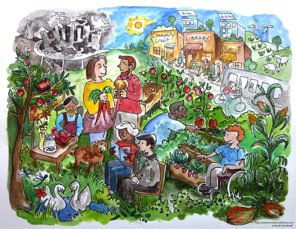 Home Harvest Farms- climate change illustration, local food production, urban agriculture