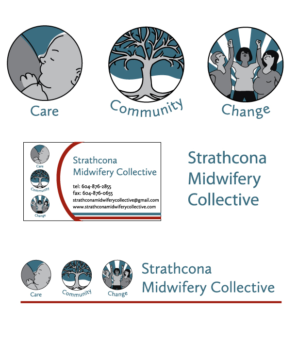 Strathcona Midwifery Collective visual identity Vancouver branding care change community