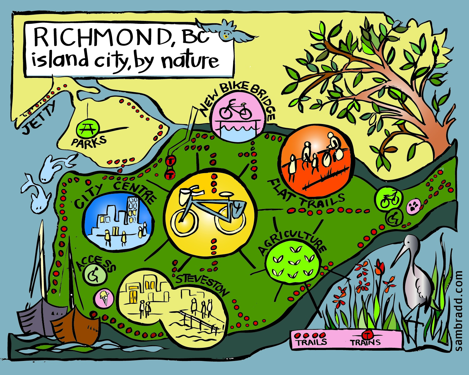 bicycle map of Richmond BC Momentum magazine illustration