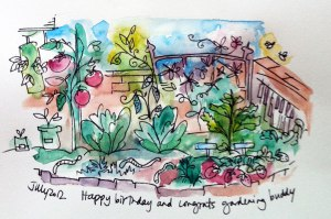 illustration of a garden with flowers and food done in watercolour and pen